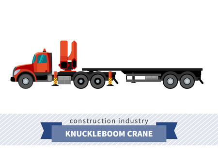 side view: Knuckleboom crane semi truck. Side view mobile crane isolated vector illustration Illustration