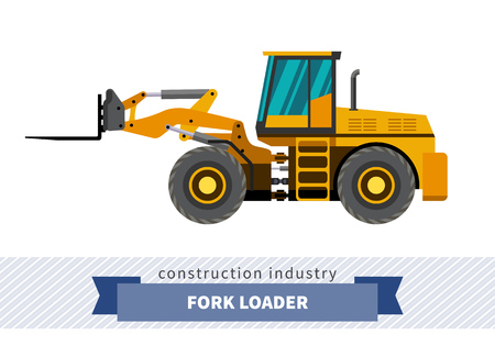 auto hoist: Forklift loader industrial crane. Side view crane isolated vector illustration