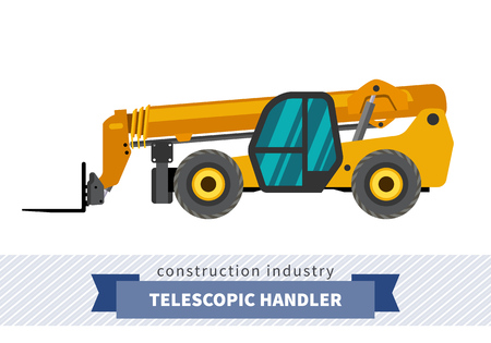 auto hoist: Telescopic handler with fork industrial crane. Side view crane isolated vector illustration Illustration