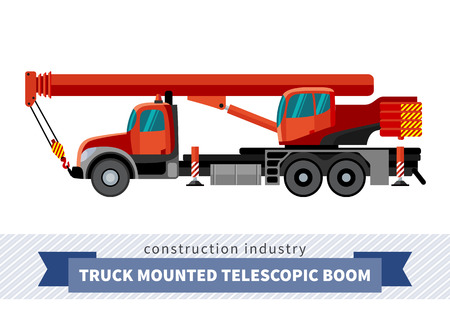 telescopic: Truck mounted telescopic boom. Side view mobile crane isolated vector illustration Illustration
