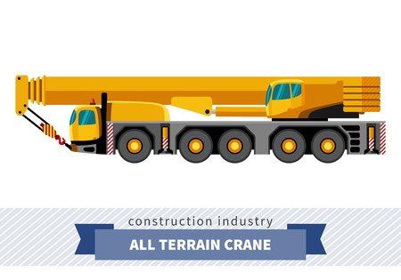 mobile crane: All terrain crane mounted on truck. Side view mobile crane isolated vector illustration
