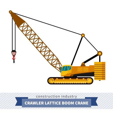 Crawler lattice boom crane. Side view mobile crane isolated vector illustration
