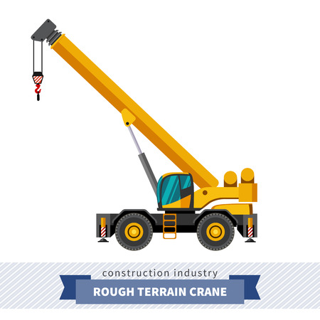 Rough terrain industrial crane. Side view crane isolated vector illustration