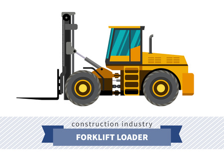 side view: Forklift loader industrial crane. Side view crane isolated vector illustration