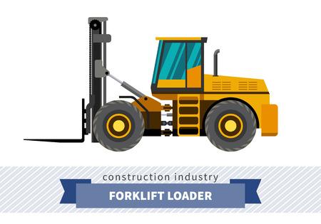 haulage: Forklift loader industrial crane. Side view crane isolated vector illustration