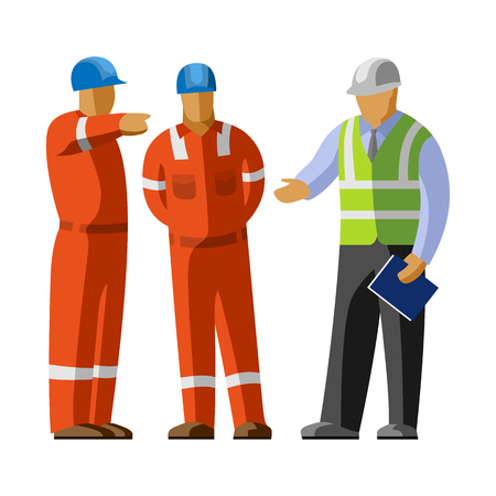 group discussion: Construction workers group discussion with manager. Vector isolated illustration