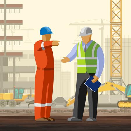 Bouwvakker gesprek met manager bij bouwplaats achtergrond. vector illustratie