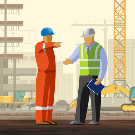 Construction worker discussion with manager at construction site background. Vector illustration Vettoriali