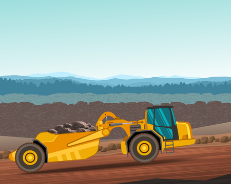 Wheel tractor-scraper at work. Heavy equipment side view vehicle color vector illustration