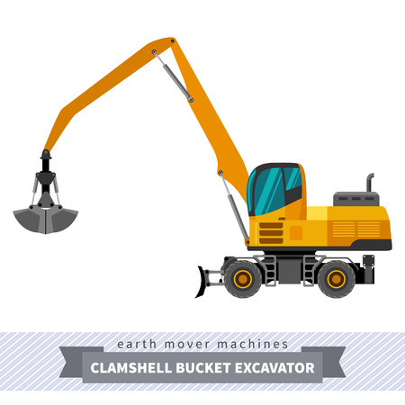 mover: Material handler clamshell bucket material mover machine.