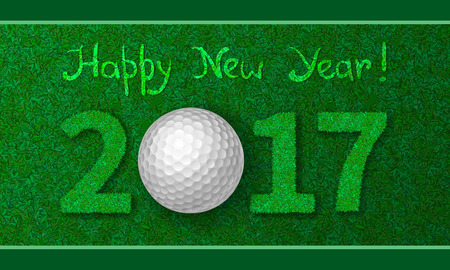 christmas golf: Golf ball on grass with numbers of new year 2017. Greeting card with grass background