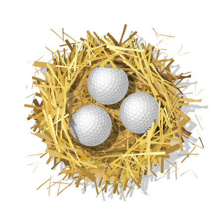 Golf balls in a straw nest on a white background. Top view. Colorful isolated illustration