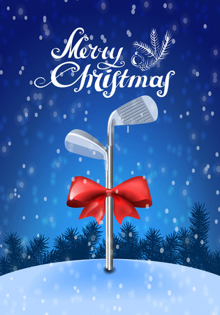 christmas golf: Golf sticks tied with a red bow inserted in the snow on a blue background with snowflakes and greeting text. Colorful illustration