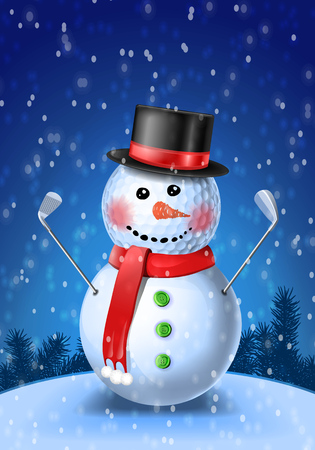 Snowman golfer with irons in black hat on golf ball illustration on blue background with snowflakes Illustration
