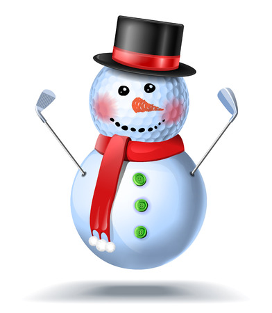 Snowman golfer with irons in black hat on golf ball isolated illustration on white background Stock Illustratie