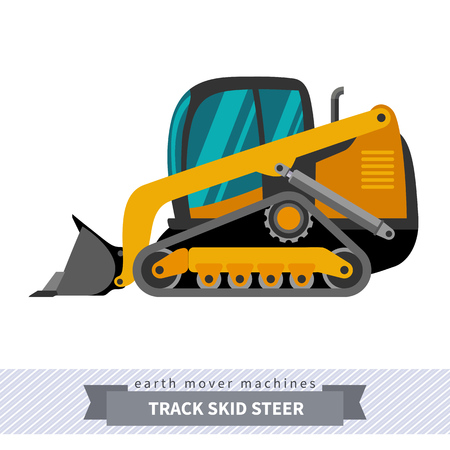 skid steer: Classic track skid steer loader earth mover machine. Modern design isolated illustration