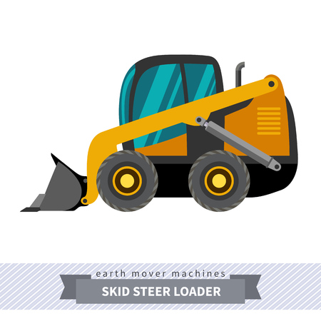 mover: Classic skid steer wheel loader earth mover machine. Modern design isolated illustration