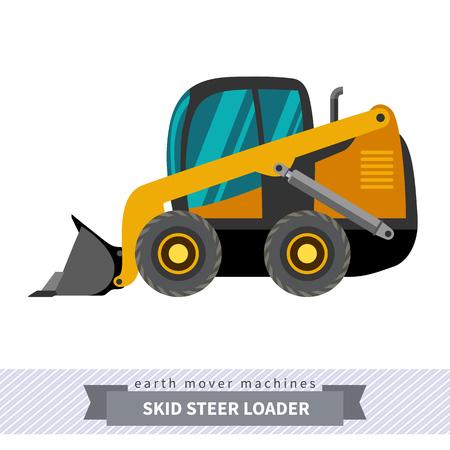Classic skid steer wheel loader earth mover machine. Modern design isolated illustration