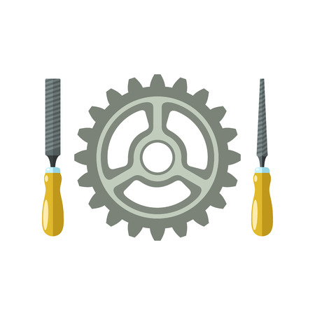 rasp: File hand tools and gear Isolated illustration