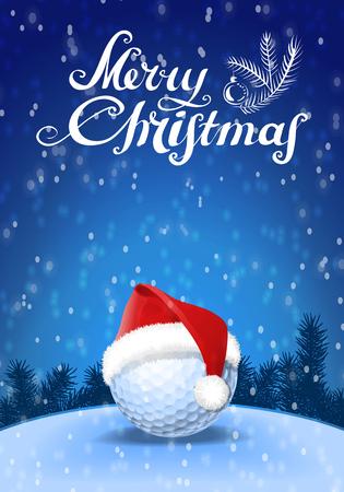 Golfbal en santa rode hoed op sneeuw met blauwe achtergrond en sneeuwvlokken en begroeting tekst. Vector Illustratie