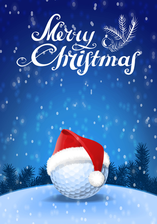 Golf ball and santa red hat on snow with blue background and snowflakes and greeting text.