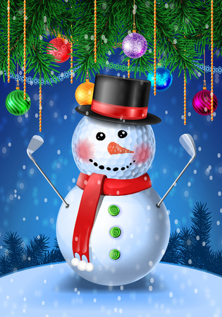 christmas golf: Snowman golfer with irons in black hat on golf ball