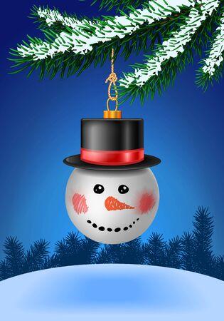 boule de neige: babiole Snowball dans le chapeau noir sur l'arbre de Noël avec de la neige sur les branches à feuilles persistantes. décoration babiole. Vector illustration sur fond bleu