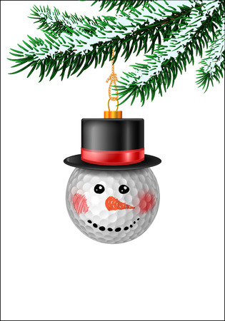 evergreen: Snowman made from golf ball. Bauble decoration on evergreen branches with snow. Vector isolated illustration Illustration