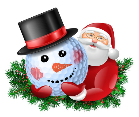 Santa Claus holding snowman golf ball in black hat. Evergreen around santa. Vector colorful isolated illustration