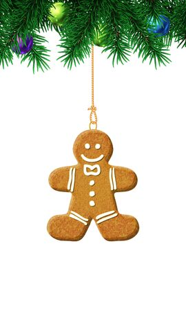 Gingerbread man on christmas tree. Isolated illustration on white background