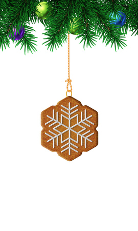ginger bread: Gingerbread snowflake on christmas tree. Isolated illustration on white background