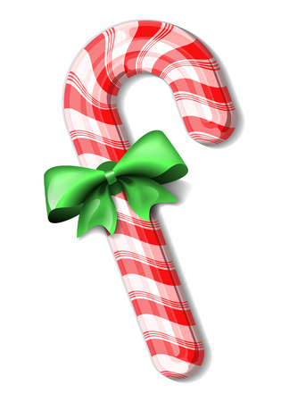 Candy cane tied with green bow. isolated illustration Illustration