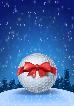 Golf ball tied with a red bow on blue background with snow. Illustration