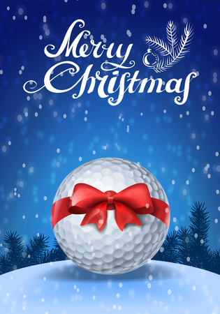 Golf ball tied with a red bow on blue background with snow and greeting text Illustration