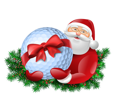 Santa Claus holding golf ball with red bow. Evergreen around santa.