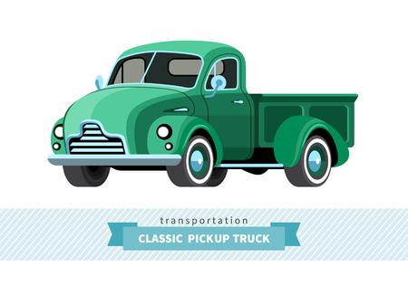 camioneta pick up: camioneta vista lateral frontal clásico. Vectores
