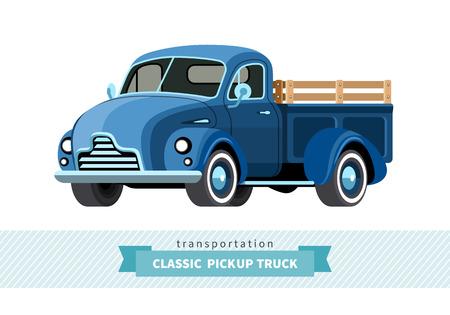camioneta vista lateral frontal clásico. aislada carro de la participación de la ilustración Ilustración de vector