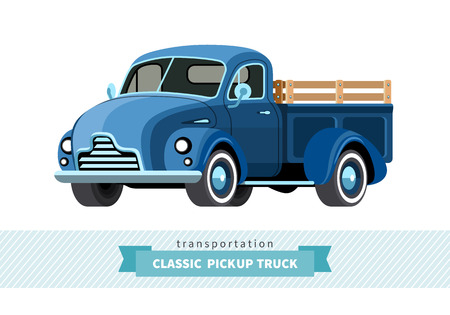 Classic pickup truck front side view. Stake truck isolated illustration