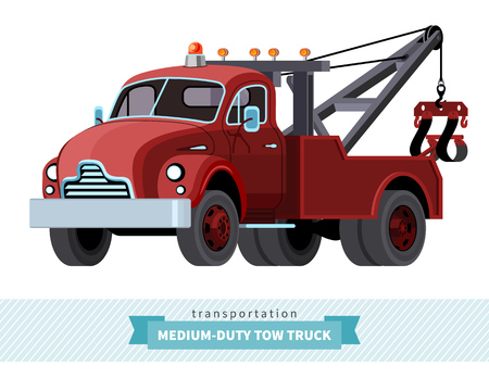 the wrecker: Classic medium duty tow truck front side view.