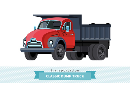 earth mover: Classic dump truck front side view. Dumper isolated illustration