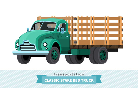 stake: Classic stake bed truck front side view. Illustration