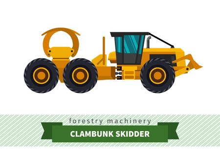 skidding: Clambunk skidder forestry vehicle vector isolated illustration