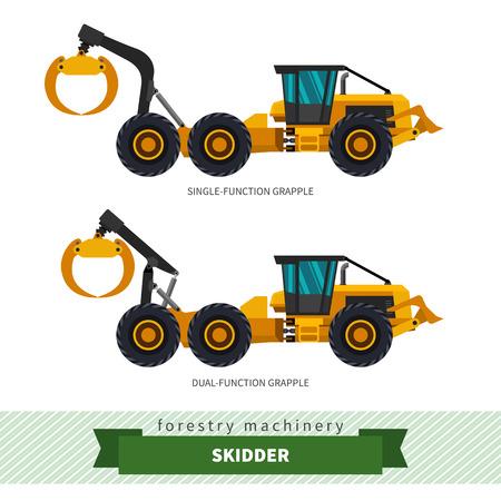 skidding: Grapple skidder forestry vehicle vector isolated illustration