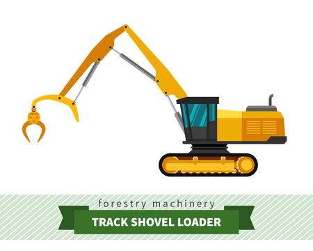 logger: Track shovel loader. Vector isolated illustration