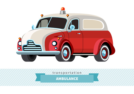 Classic ambulance wagon front side view. Panel wagon vector isolated illustration