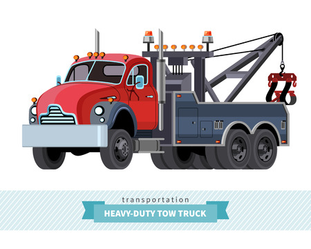 heavy duty: Classic heavy duty tow truck front side view. Vector isolated illustration Illustration