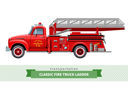 Classic fire truck ladder side view.