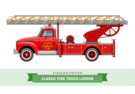 oldtimer: Classic fire truck ladder side view.
