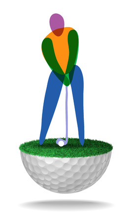 Abstract golfer on half golf ball with grass.
