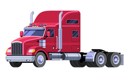 hauling: Classic tractor truck with sleeper cab and fifth wheel. Simple front side view clipart drawing in flat color. Isolated red truck vector illustration